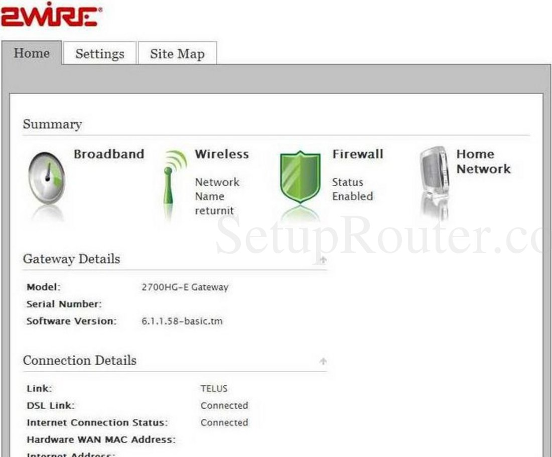 2Wire 2700HG-E Screenshot Home