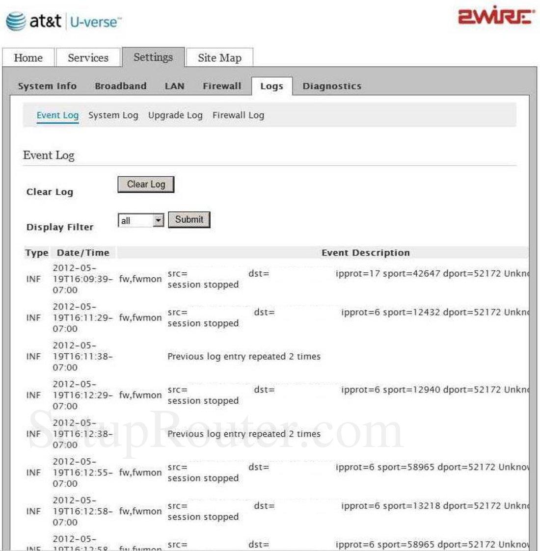 2Wire 3600HGV Screenshot Event Log
