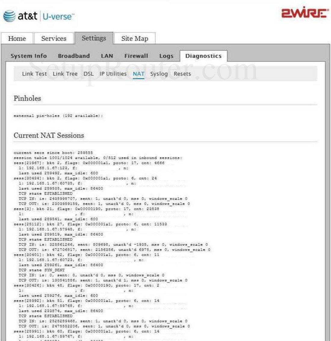 2Wire 3600HGV Screenshot NAT Diagnostics