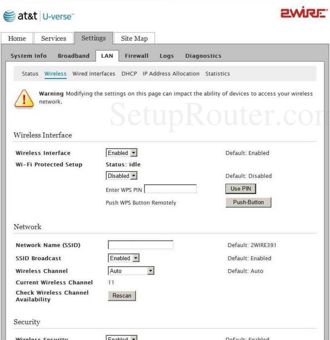 2Wire 3600HGV Screenshot Wireless