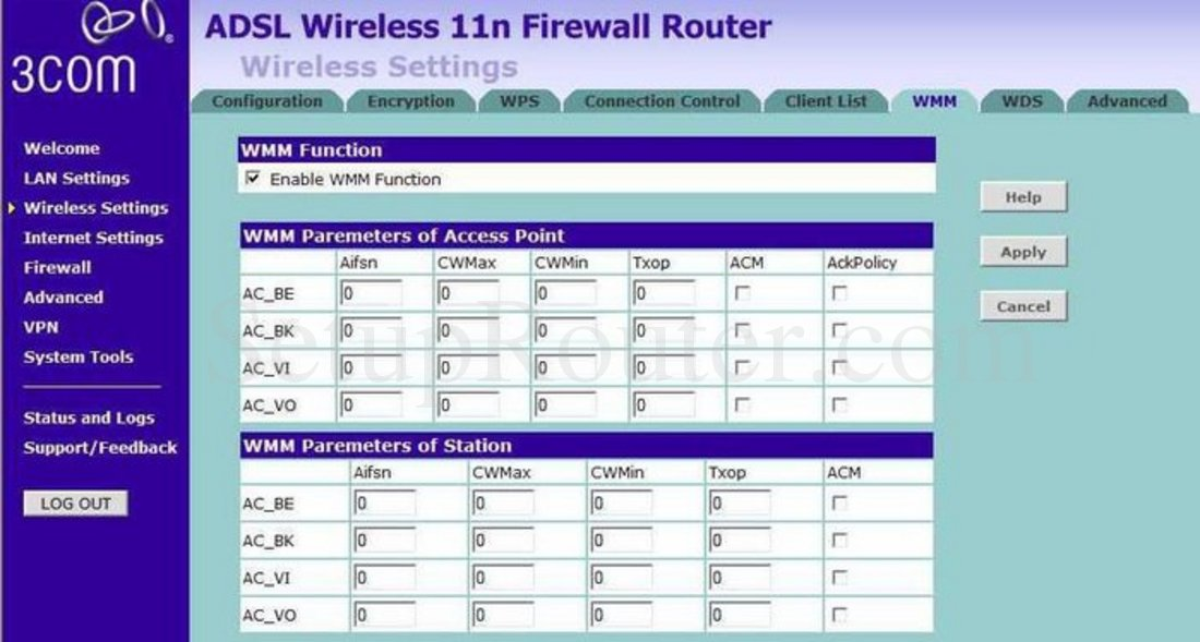 3Com 3CRWDR300A-73 Screenshot Wireless Settings WMM