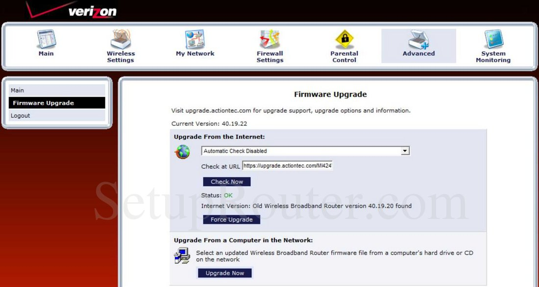 actiontec firmware upgrade version 30.21.0.2