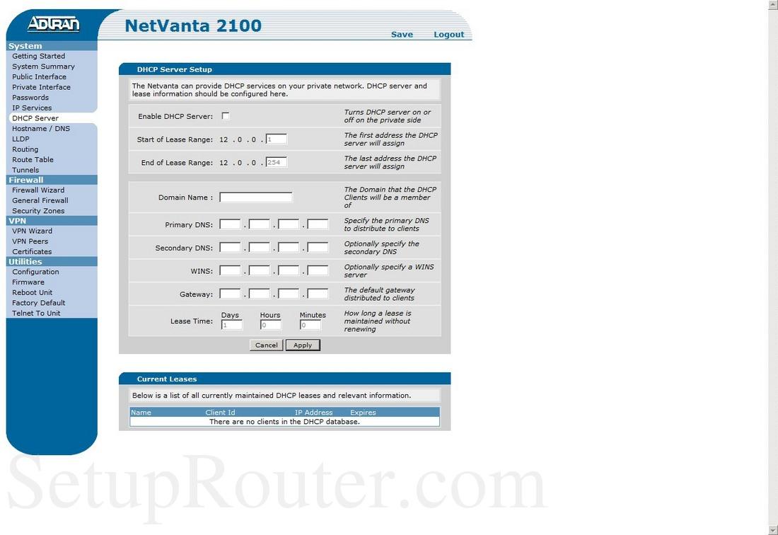 Adtran NetVanta 2100 Screenshot DHCPServer