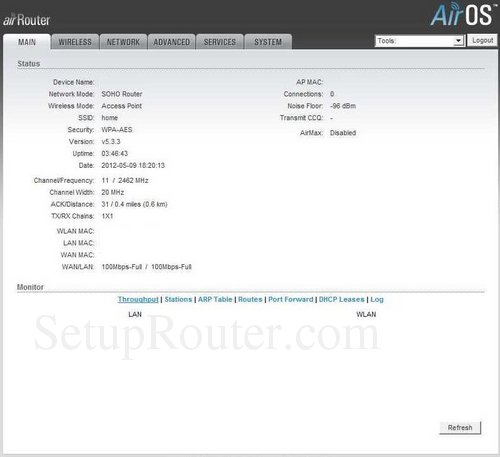 How to Login to the AirRouter AirOS