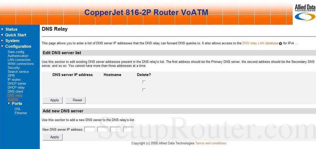 Allied-Data CopperJet-816-2P Screenshot DNS Relay