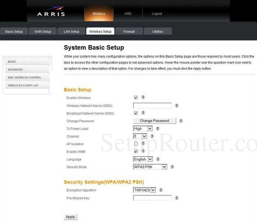 how to change wifi password on arris router