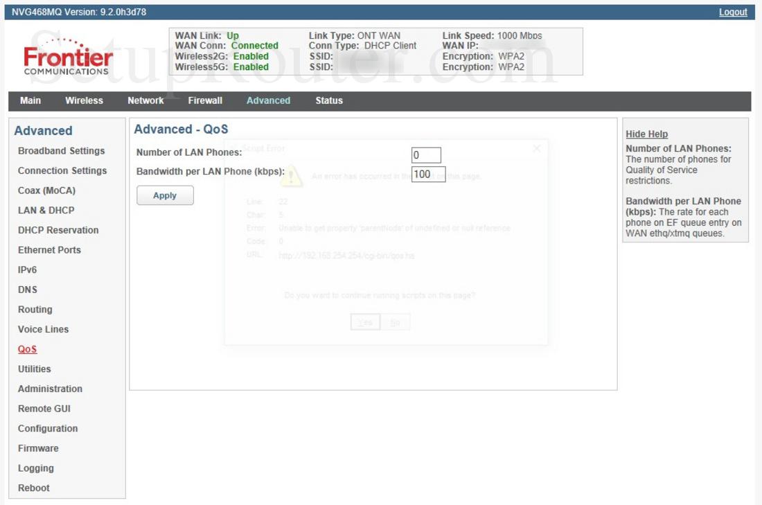 Arris NVG468MQ Screenshot QoS