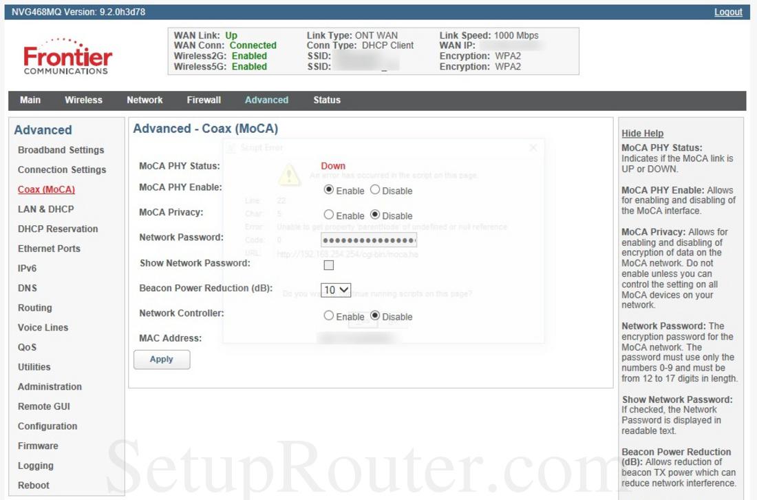 Arris NVG468MQ Screenshot CoaxMOCA