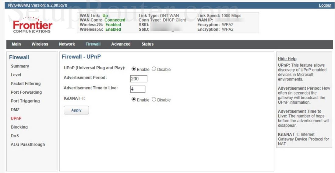 Arris NVG468MQ Screenshot UPnP