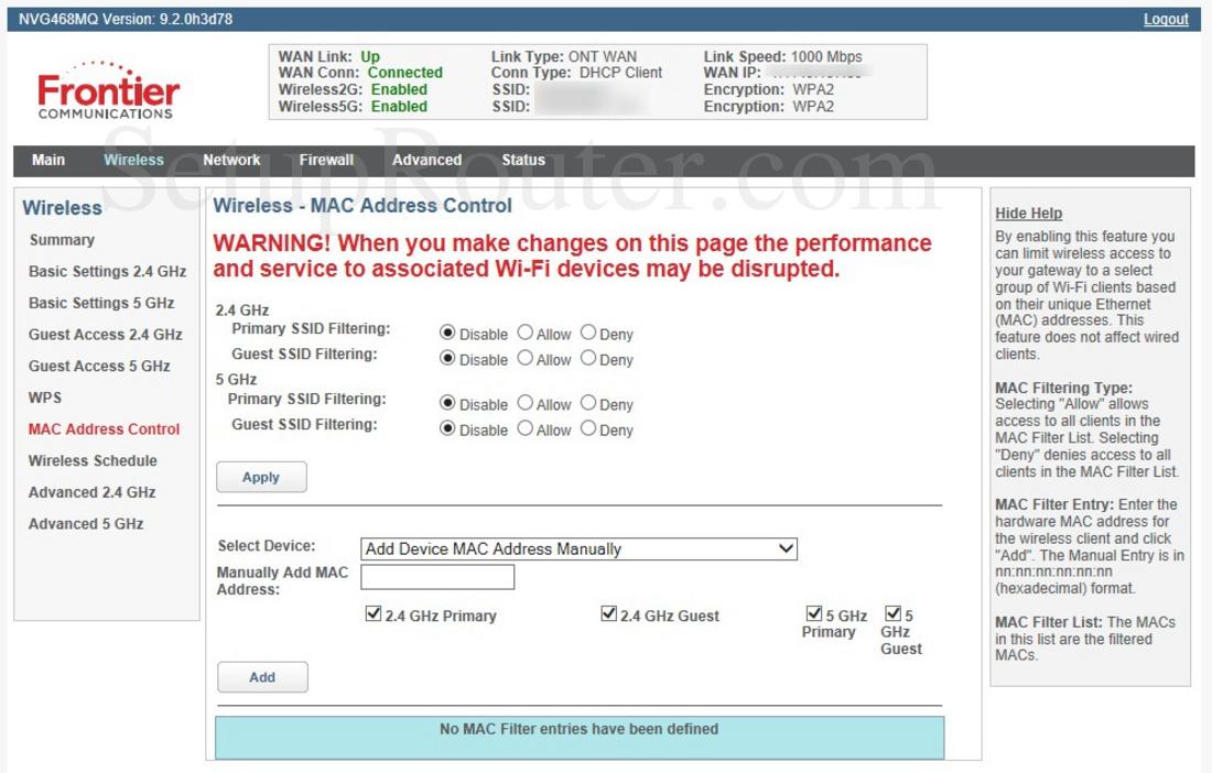 Arris NVG468MQ Screenshot WirelessMACAddressControl