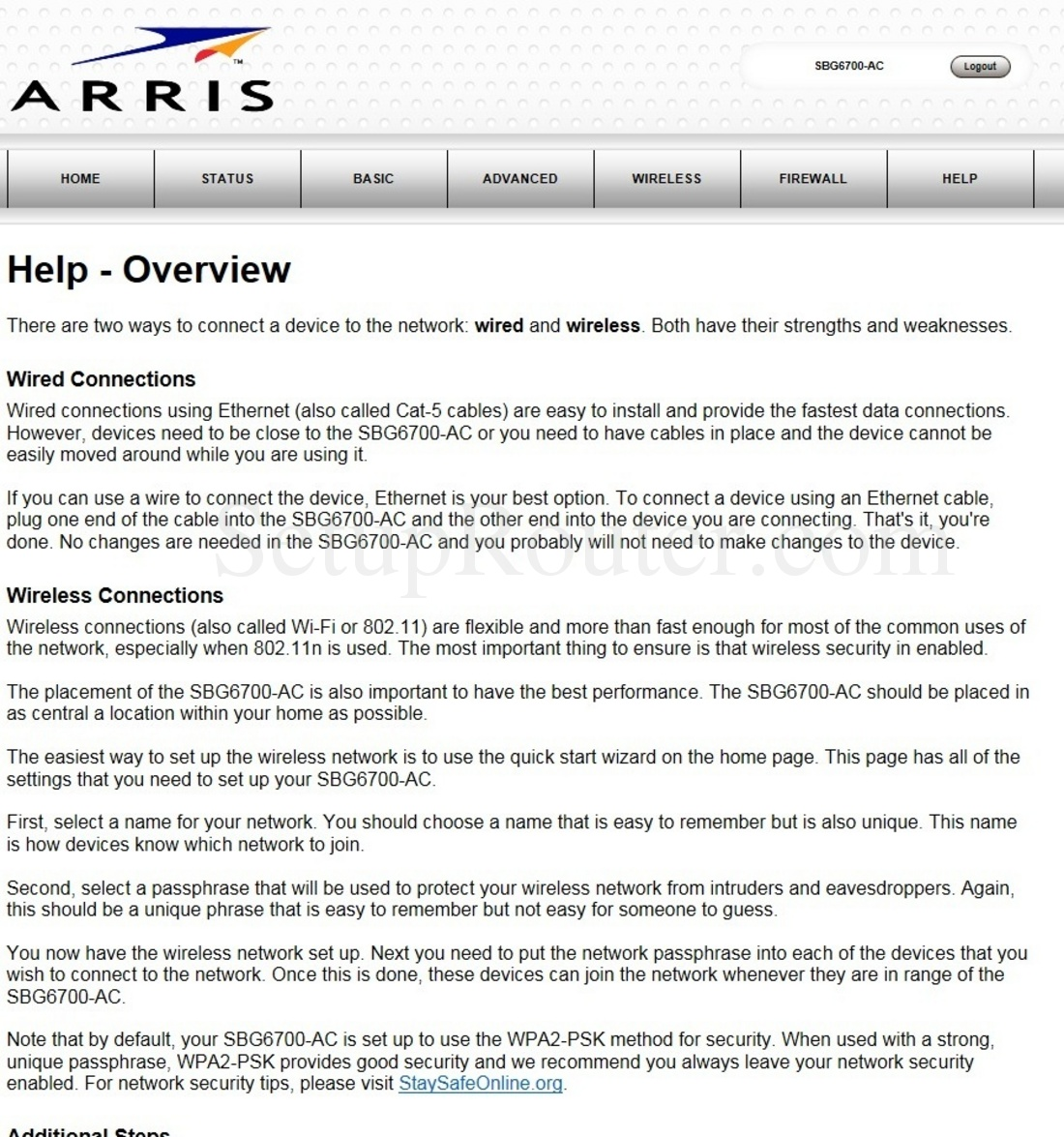 Arris Sbg6700 Ac Screenshot Helpoverview Ethernet Wiring For Your Home Keywords On The