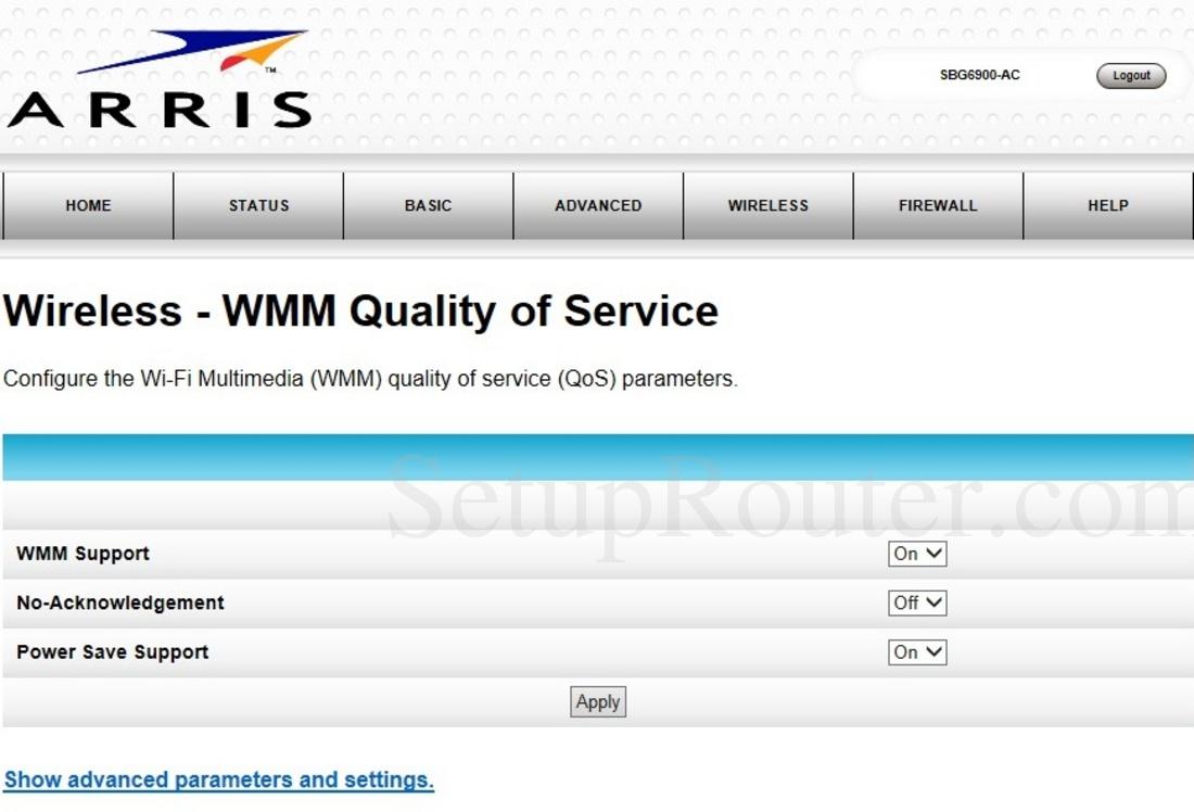 Arris SBG6900-AC Screenshot WirelessWMMQualityofService