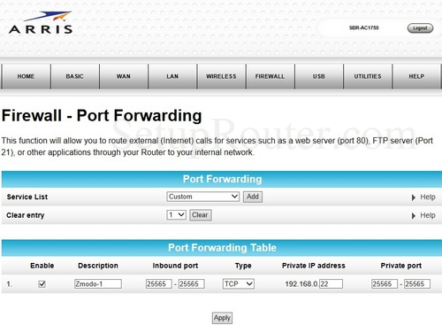 How To Port Forward Fortnite Arris Arris Sbr Ac1750 Port Forwarding Guide