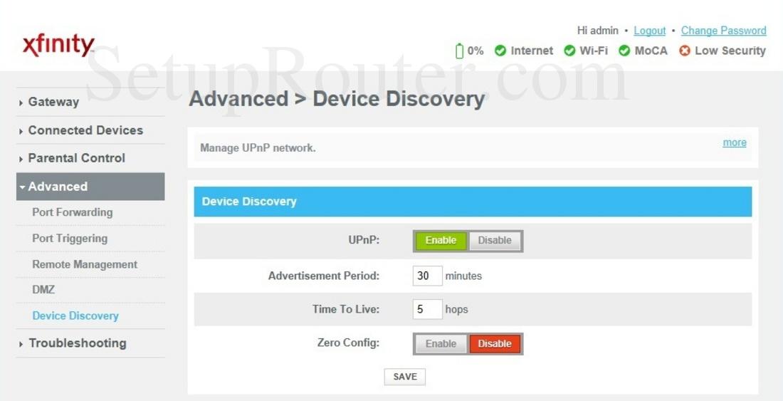 Arris TG1682G Screenshot DeviceDiscovery