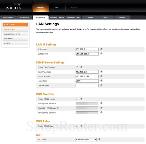 How to change the DNS settings on the Arris TG2472G