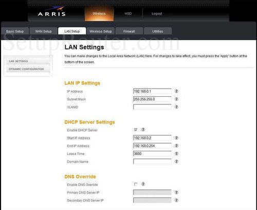 How to change the ip address of the Arris TG852G