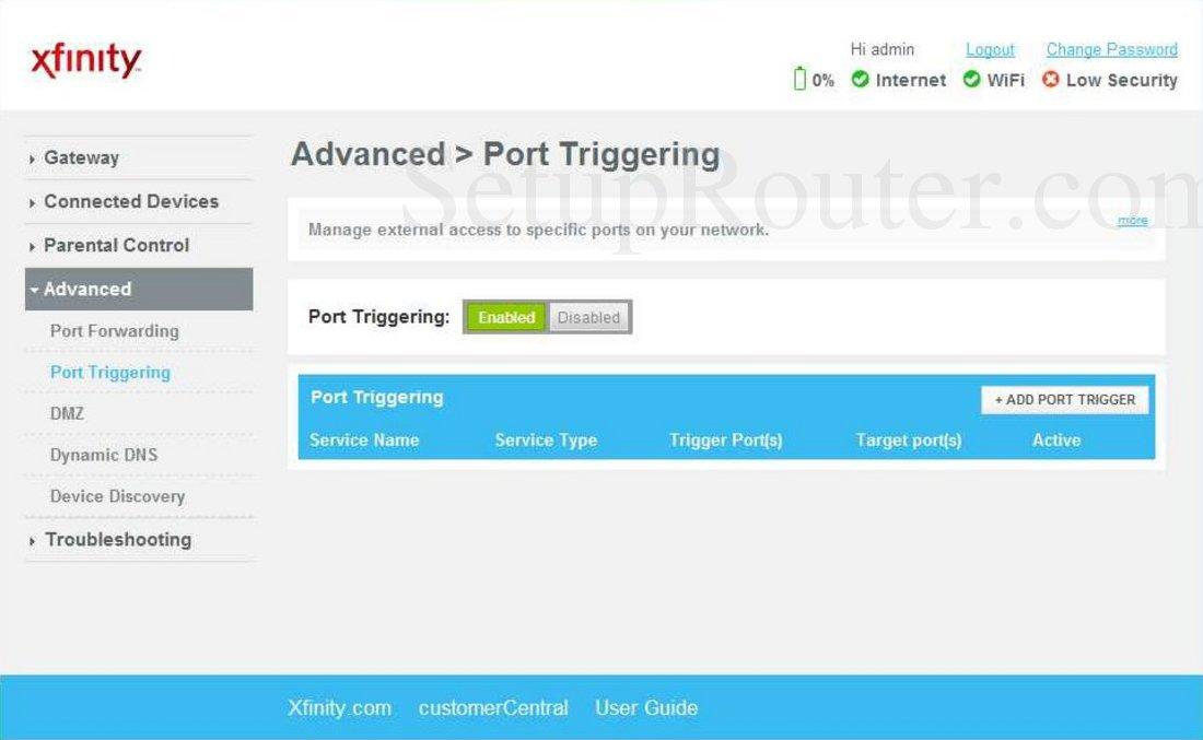 Arris TG862 Screenshot Port Triggering