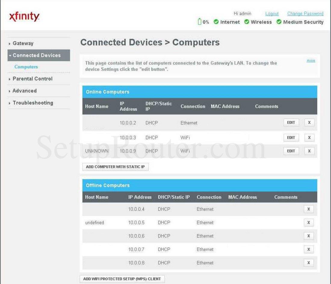 arris tg862g ct screenshot connected devices rh setuprouter com manual arris tg862 español manual arris tg862 español