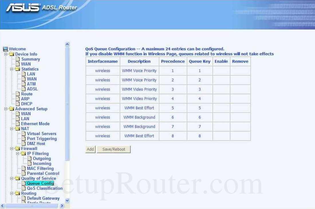 Asus AM604G Screenshot QoS Queue Configuration