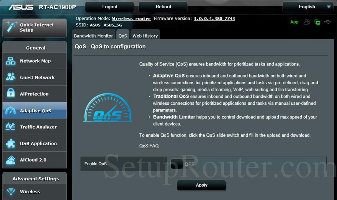 Asus RT-AC1900P Screenshot QoS