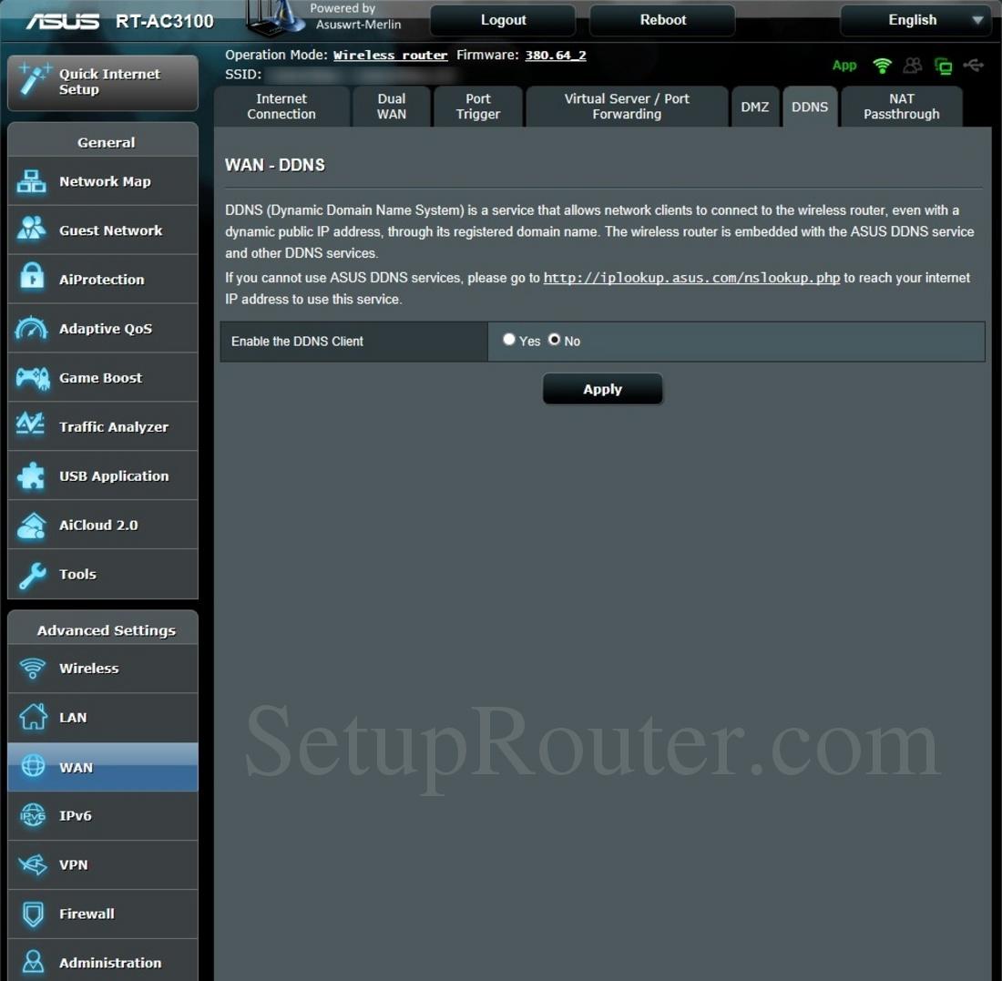 Asus RT-AC3100 Asuswrt-Merlin Screenshot DDNS