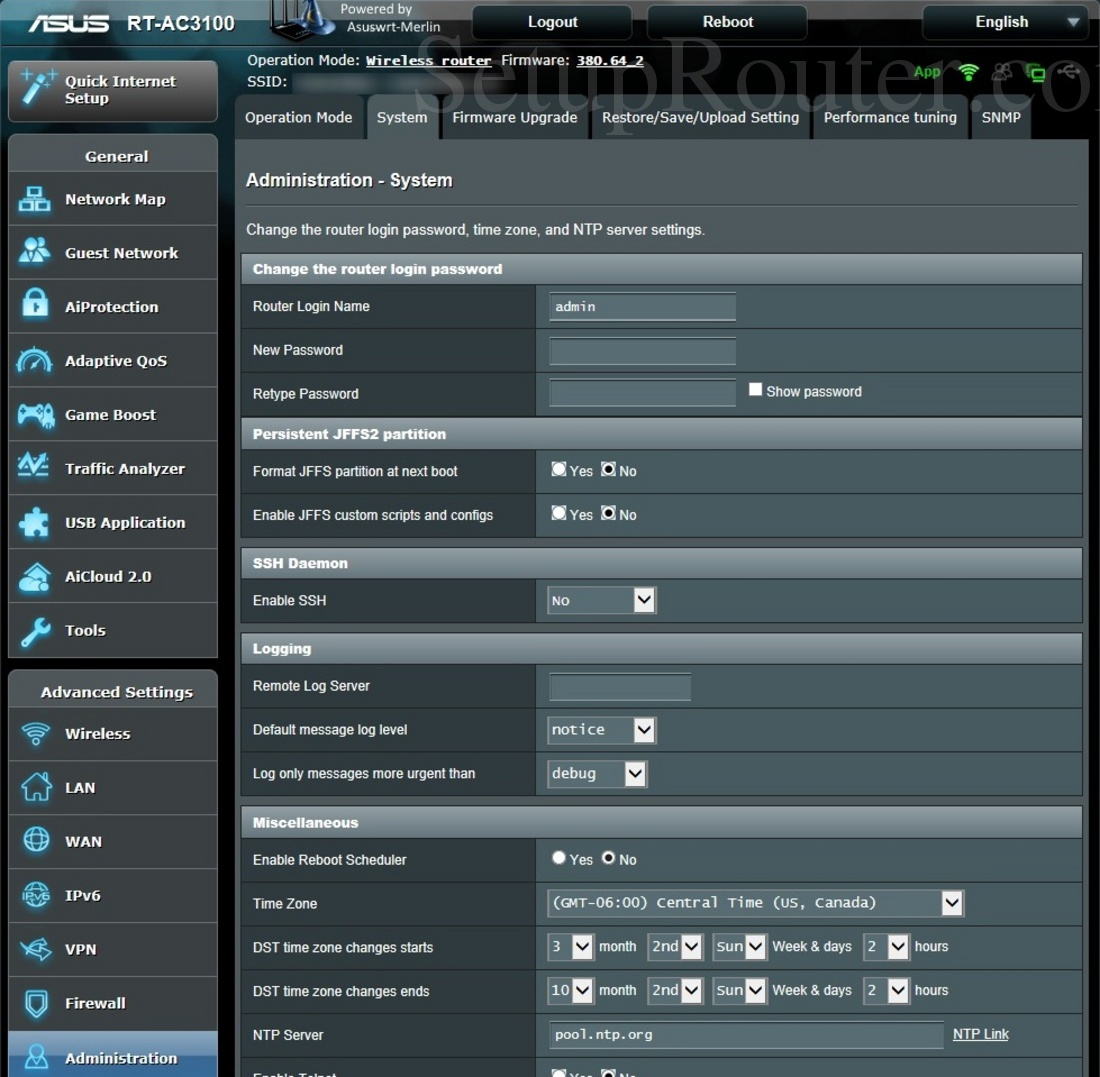 Asus RT-AC3100 Asuswrt-Merlin Screenshot SystemAdministration