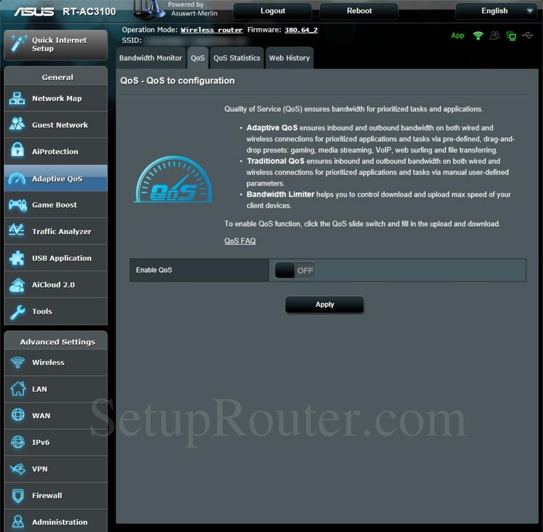 Asus RT-AC3100 Asuswrt-Merlin Screenshot QoSConfiguration
