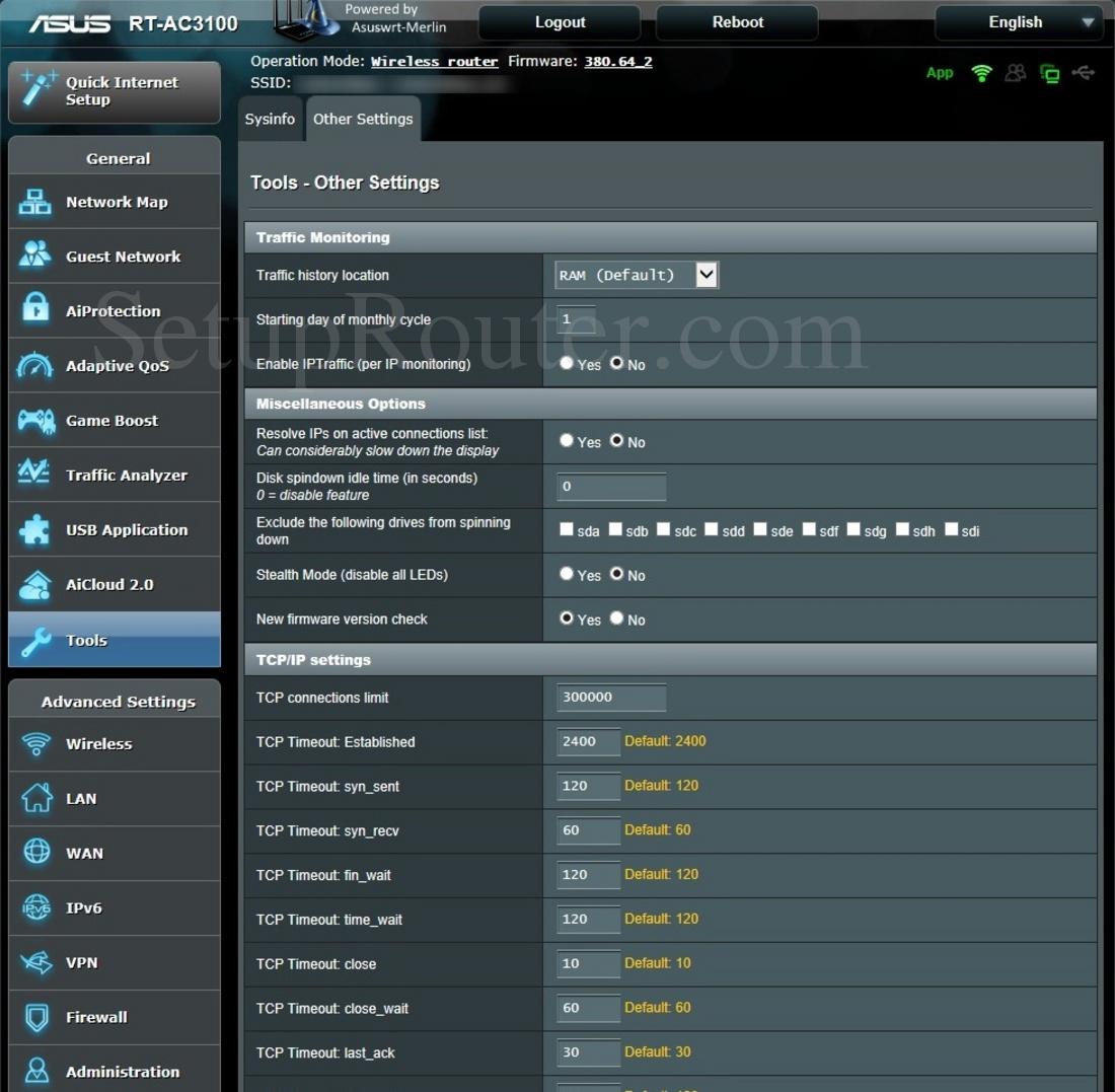 Asus RT-AC3100 Asuswrt-Merlin Screenshot OtherSettings