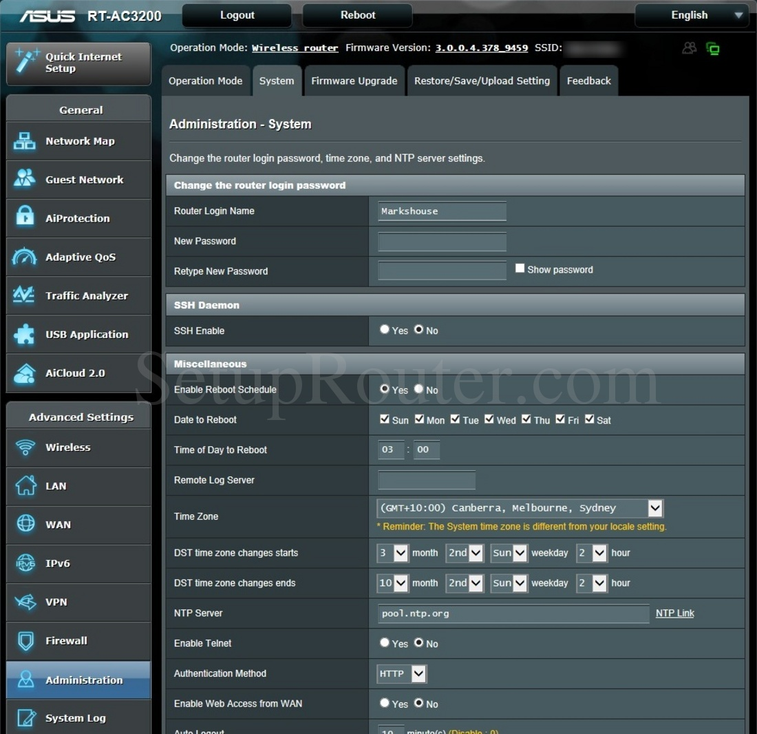 Asus RT-AC3200 Screenshot SystemAdministration