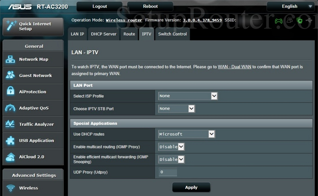 Asus RT-AC3200 Screenshot IPTV