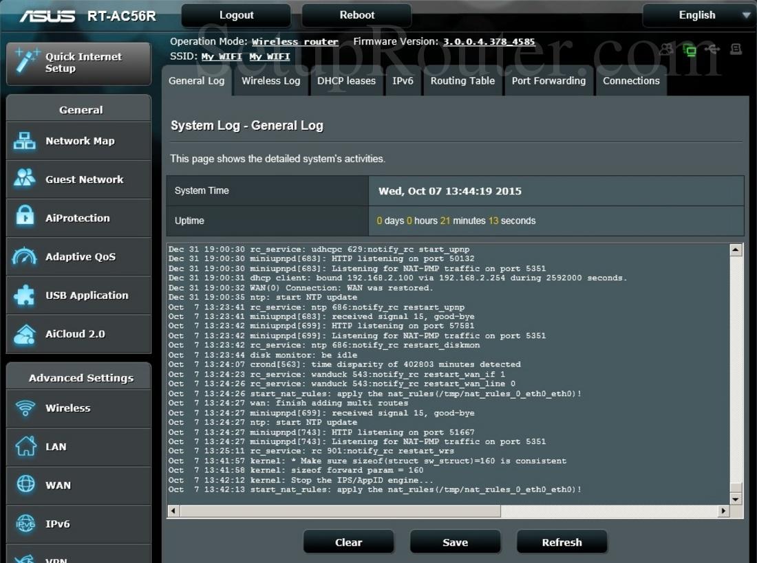 Asus RT-AC56R Screenshot GeneralLog
