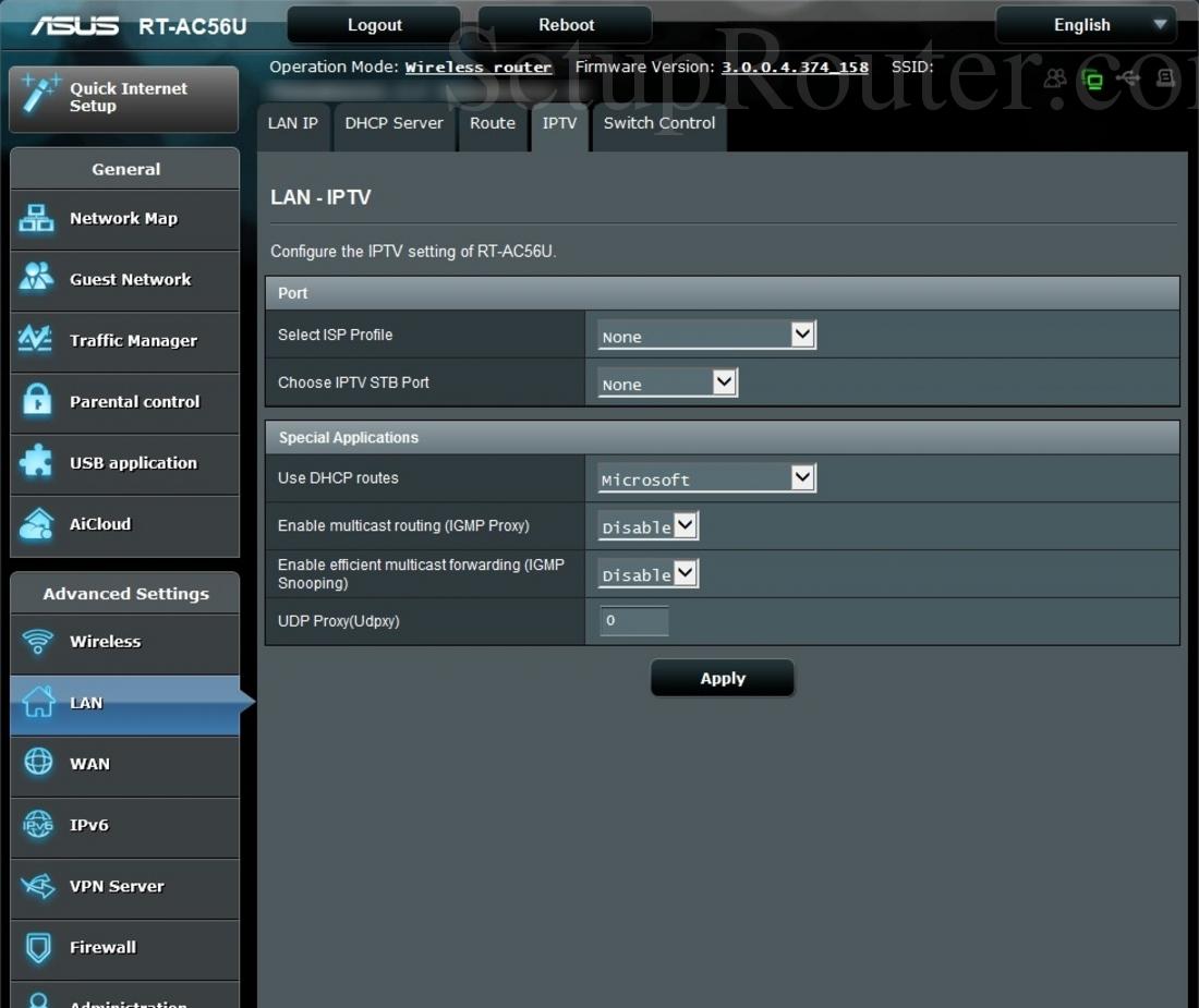 Asus RT-AC56U Screenshot IPTV
