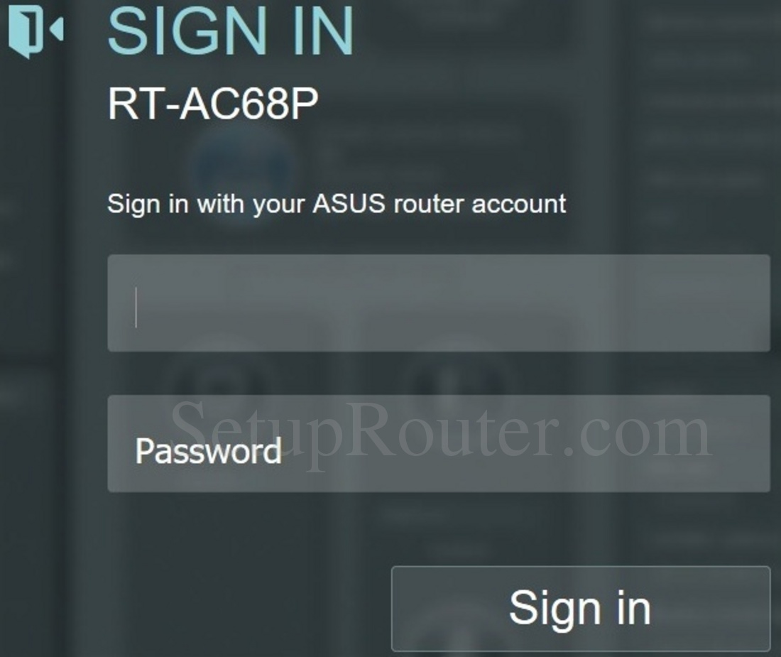 keywords on the asus rt ac68p login screenshot