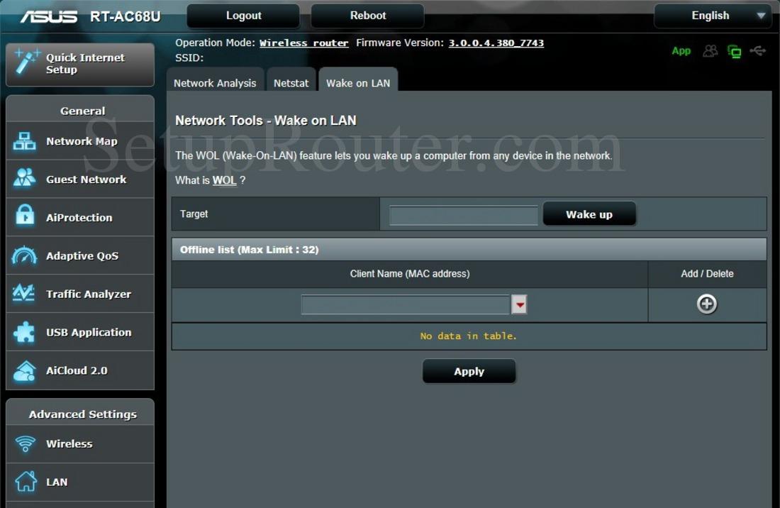 Asus RT-AC68U Screenshot WakeonLAN