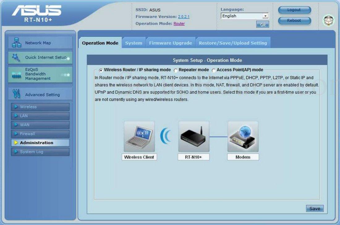 Asus RT-N10 Screenshot AdministrationOperationMode