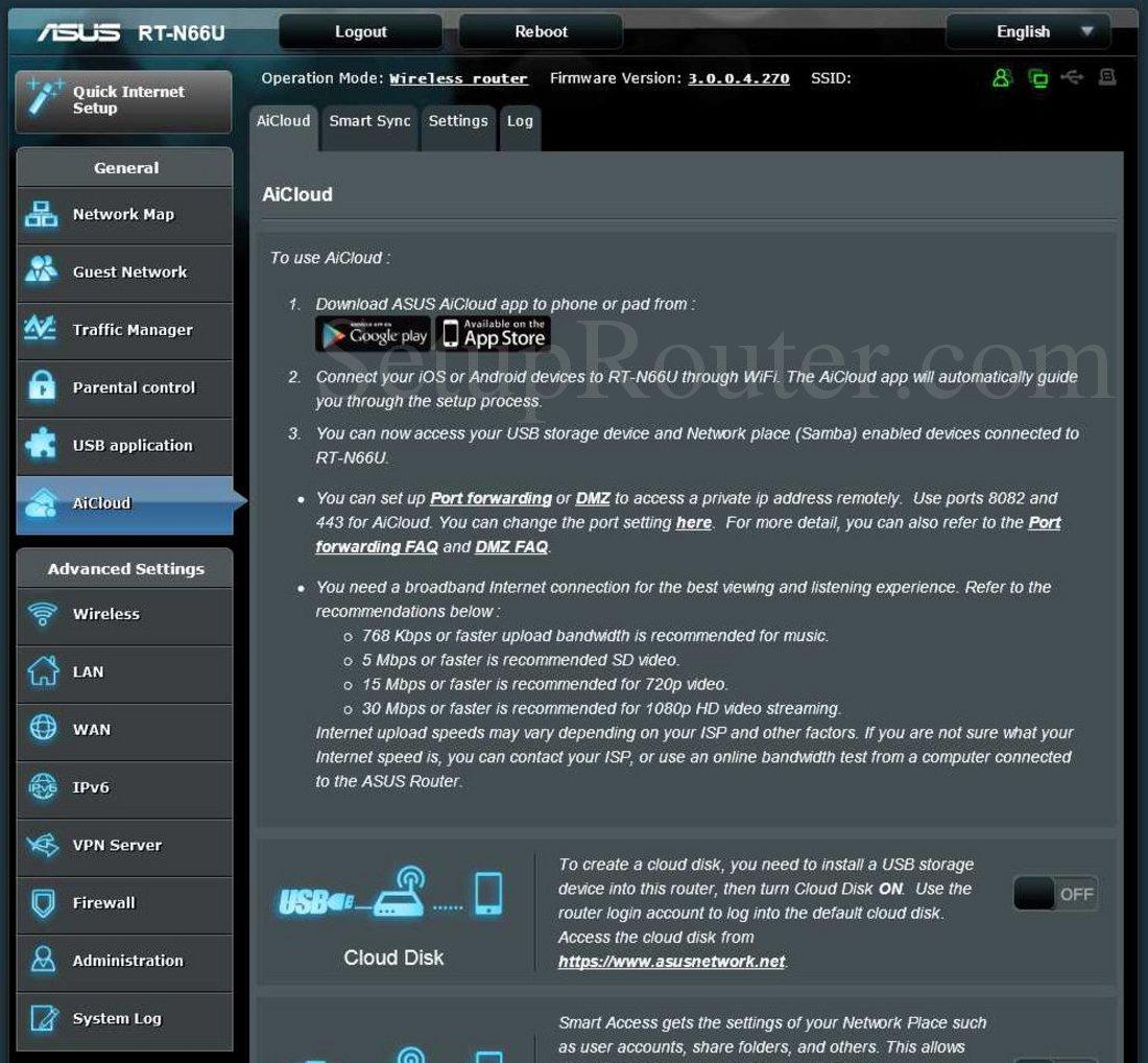 Asus RT-N66U Screenshot AiCloud