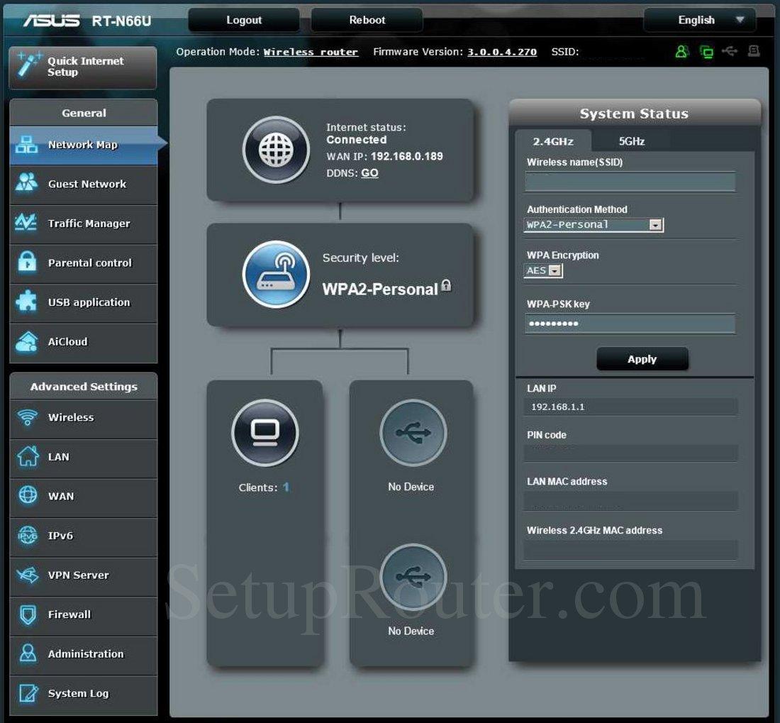 Asus RTNU Screenshot Network Map - Network map page