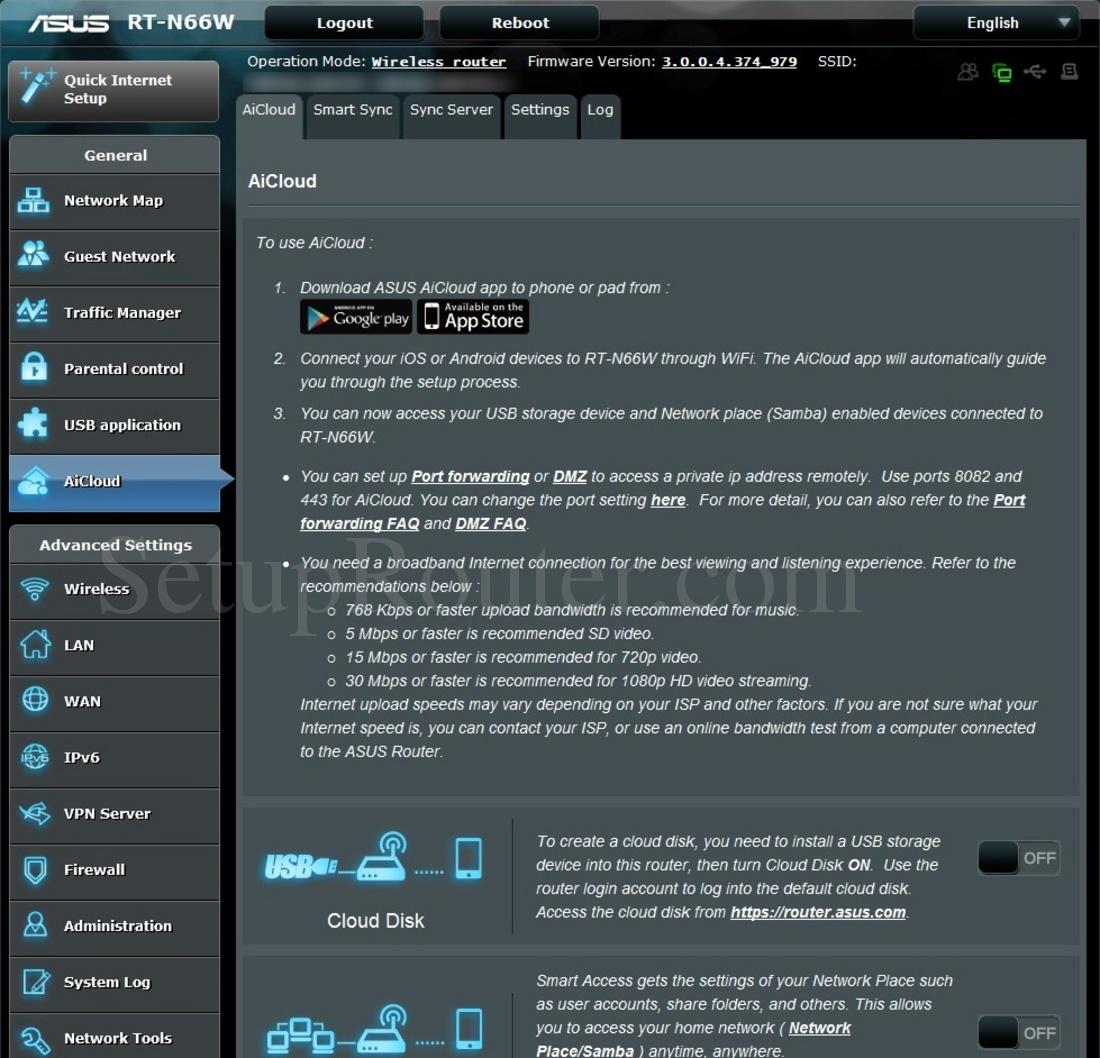 Asus RT-N66W Screenshot AiCloud