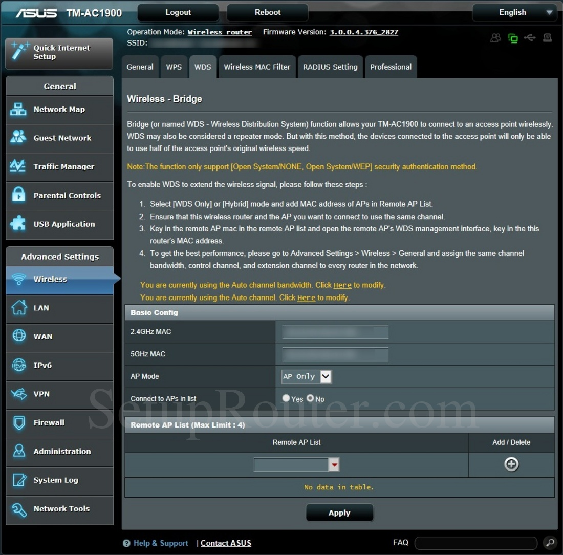 Asus TM-AC1900 Screenshot WirelessWDS