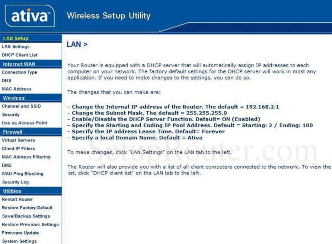 Ativa AWGR54 Screenshot LAN