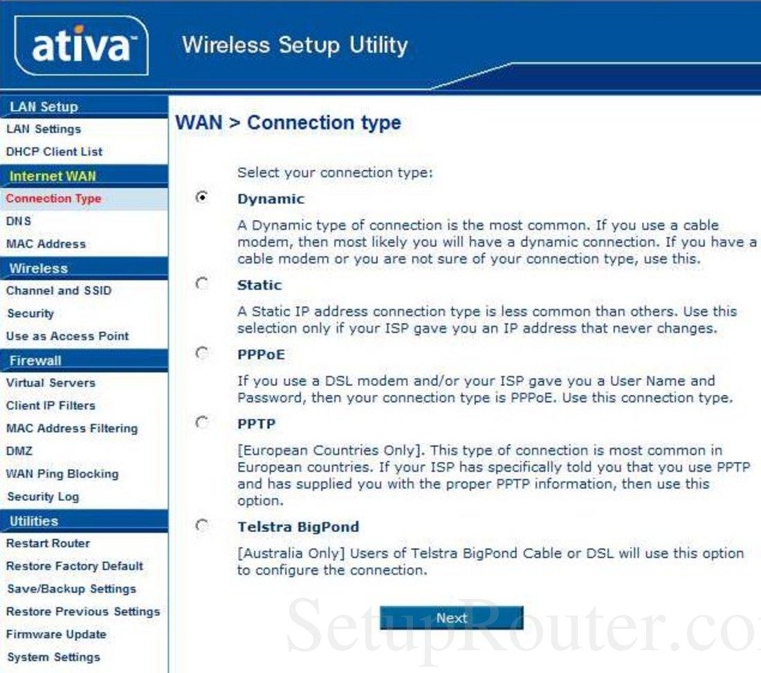 Ativa AWGR54 Screenshot Connection Type