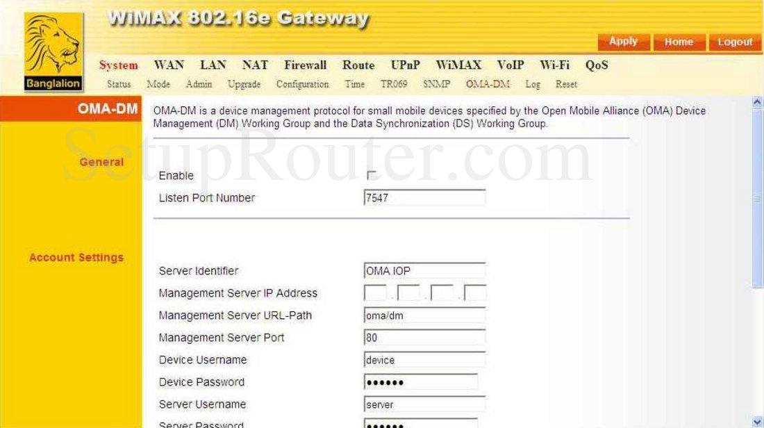 AWB-Networks RG231 Screenshot OMA DM