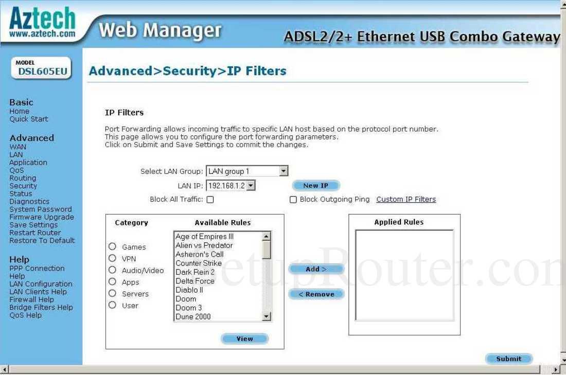 SG Aztech DSLEU DSL Router