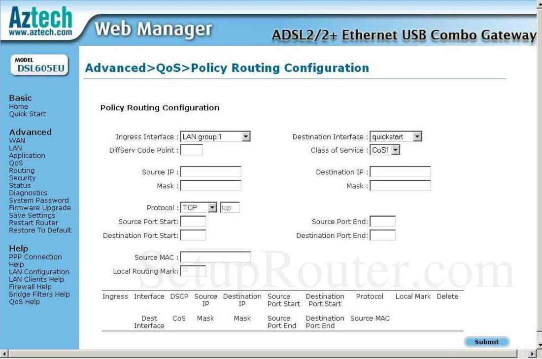 Aztech DSL605EU Screenshot QoS - Policy Routing Configuration