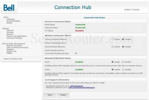 How to change the ip address of the Bell Connection-Hub