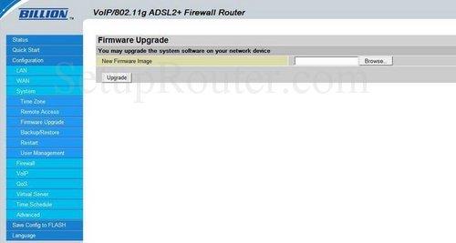 Billion bipac 7401vgp r3 firmware upgrade router screenshot.