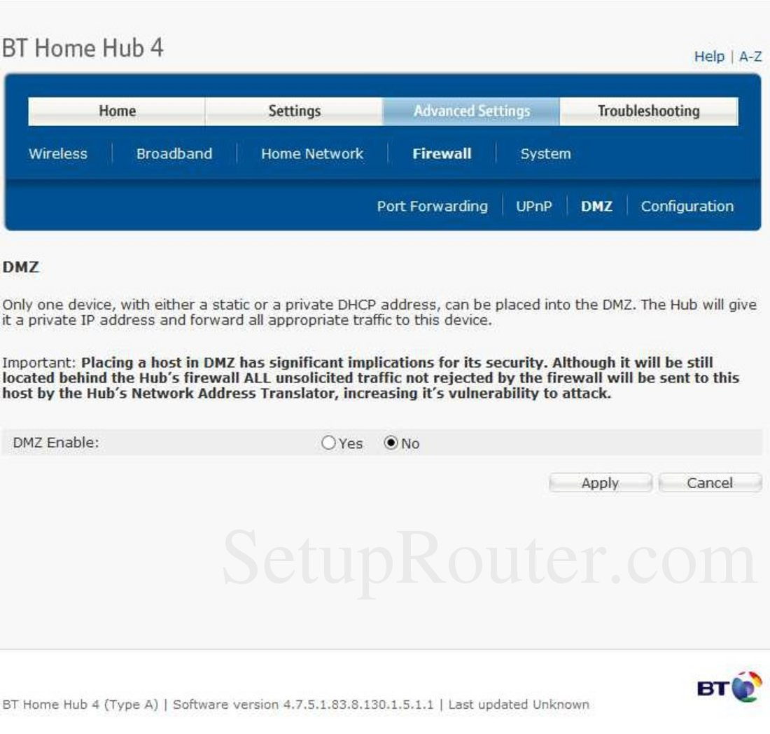 Bt Home Hub Dmz