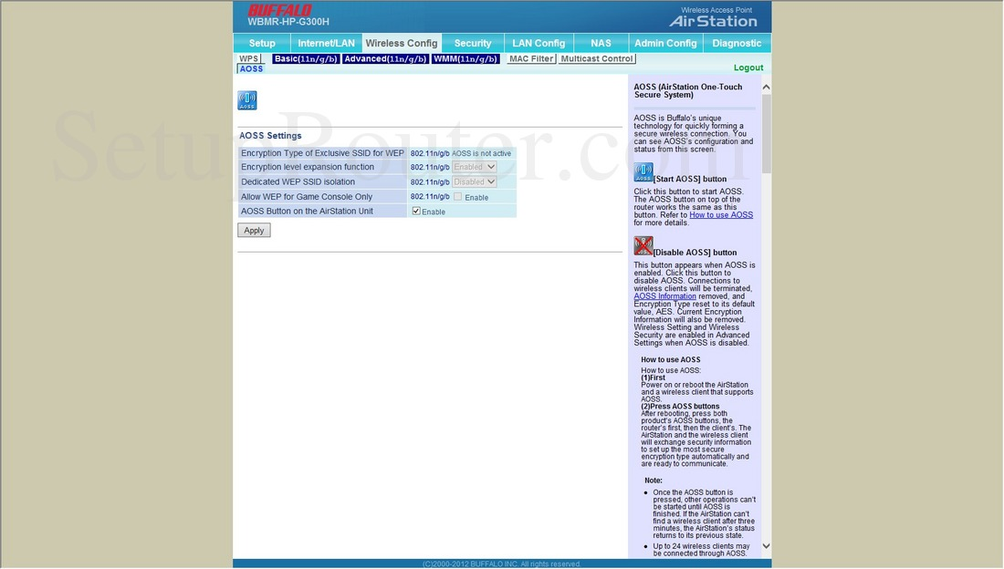 Buffalo WBMR-HP-G300H Screenshot WirelessAOSS