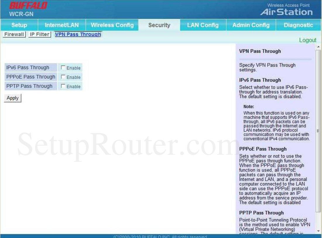 Buffalo WCR-GN Screenshot VPN Passthrough