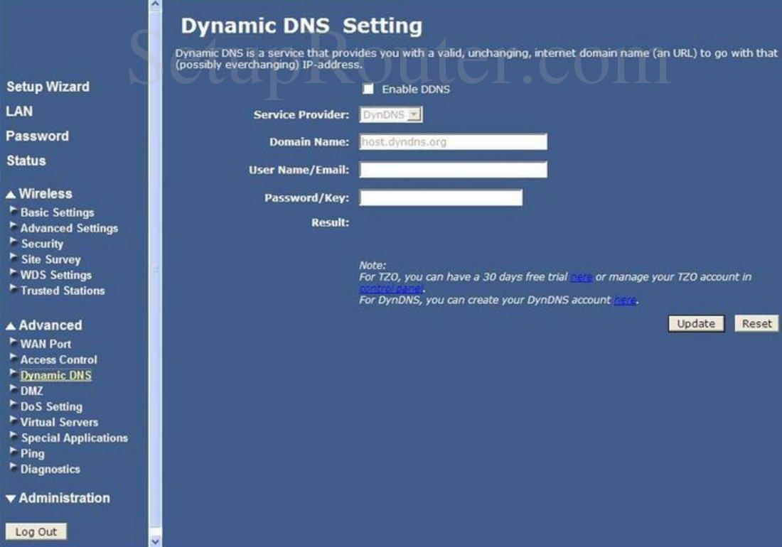 Cisco 870-Series Screenshot Advanced Dynamic DNS